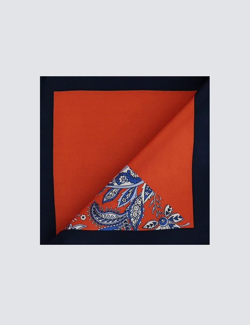 Men's Orange 2 Way Floral Print Pocket Square - 100% Silk