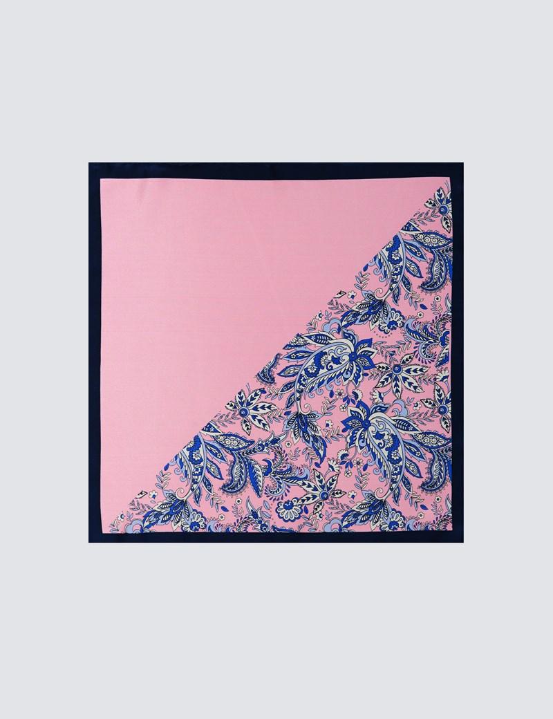 Men's Light Pink 2 Way Floral Print Pocket Square - 100% Silk