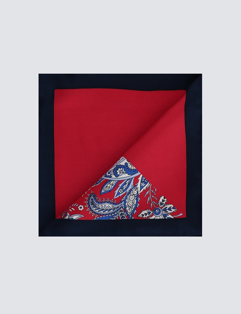 Men's Red 2 Way Floral Print Pocket Square - 100% Silk