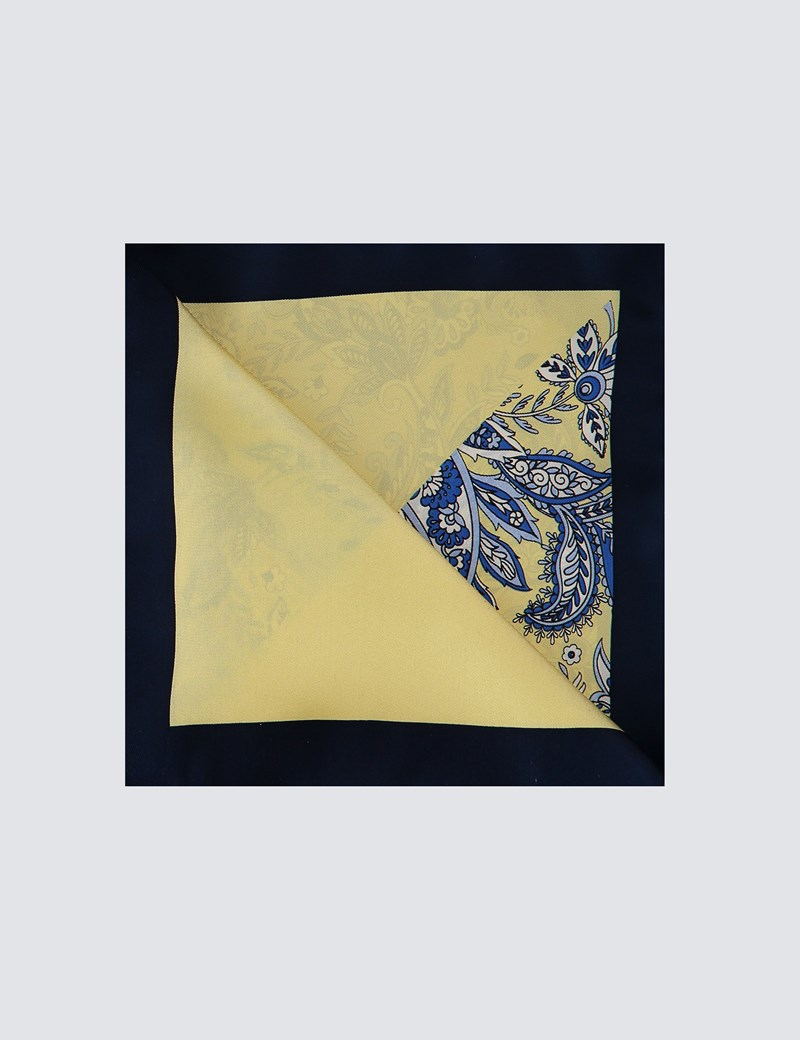 Men's Yellow 2 Way Floral Print Pocket Square - 100% Silk