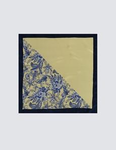 Men's Yellow 2 Way Floral Print Pocket Square - 100% Silk