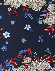 Men's Blue & Orange Floral Print Pocket Square - 100% Silk