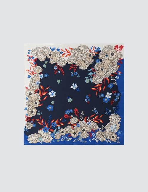 Men's Blue & Orange Floral Print Pocket Square - 100% Silk