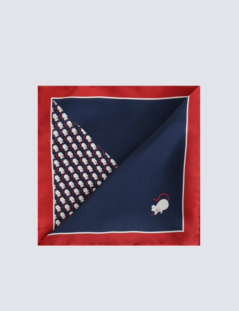 Men's Navy & Red 2 Way Silk Mouse Pocket Square – The Mousetrap Collection