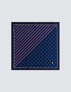 Men's Navy & Blue 2 Way Silk Stripe Mouse Pocket Square – The Mousetrap Collection