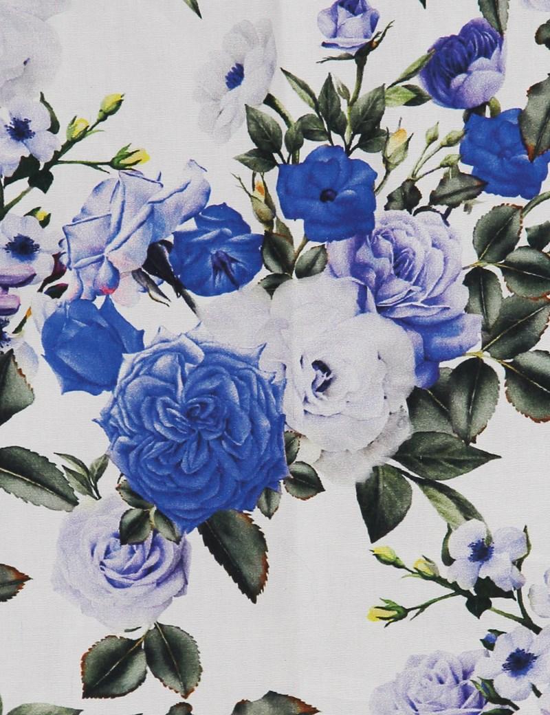 Men's White & Blue Cotton Floral Print Pocket Square - 100% Cotton