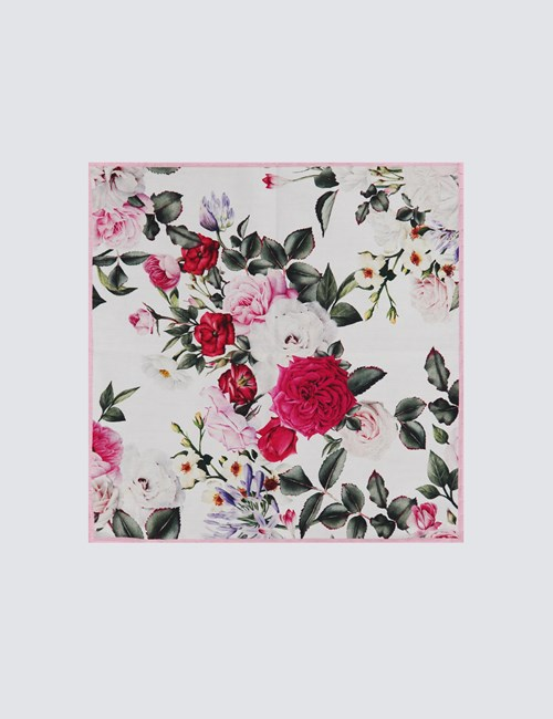 Men's White & Pink Cotton Floral Print Pocket Square - 100% Cotton