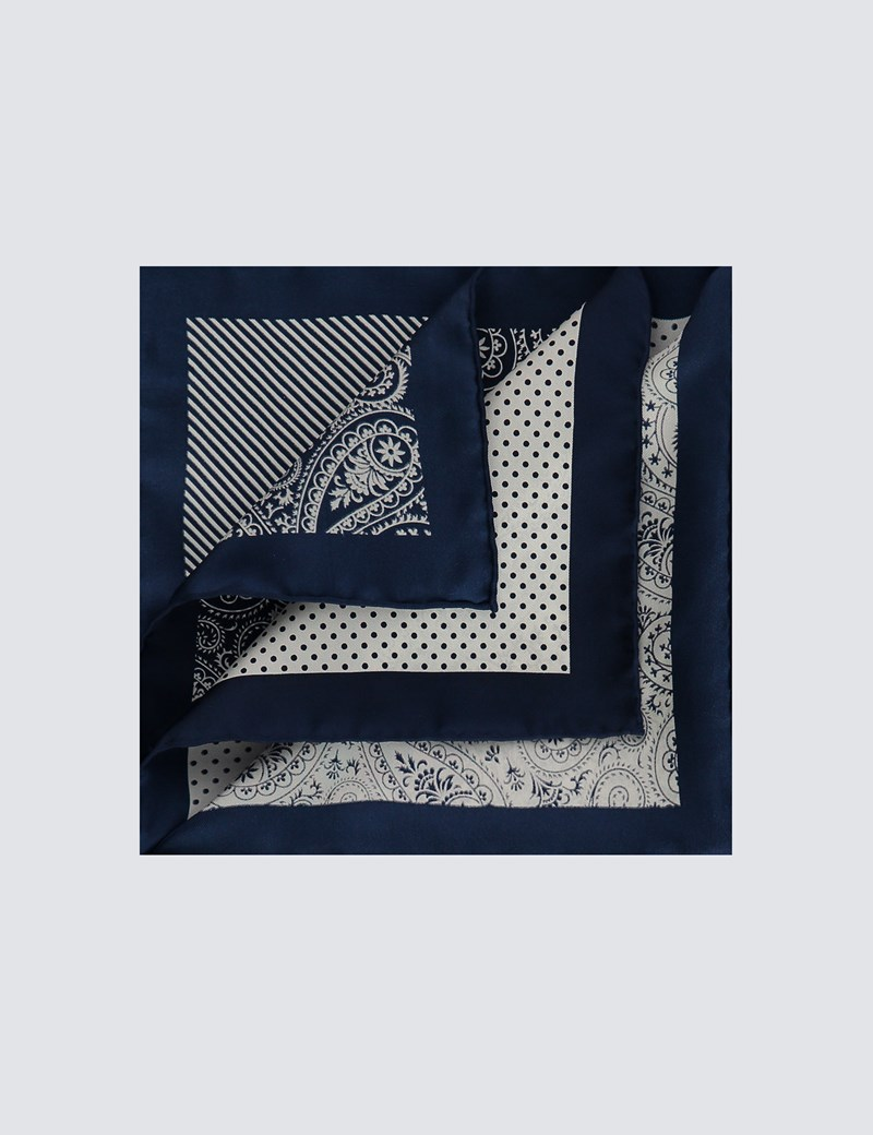 Men's Navy & White 4 Way Paisley Print Pocket Square - 100% Silk