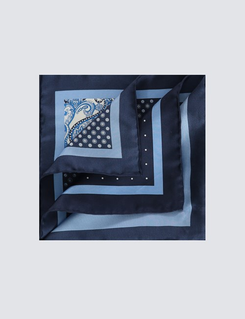 Men's Navy & Light Blue 4 Way Geometric Print Pocket Square - 100% Silk