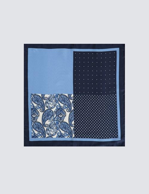 HAWES /& CURTIS Mens Claret Blue and White West Ham Pocket Square 100/% Silk