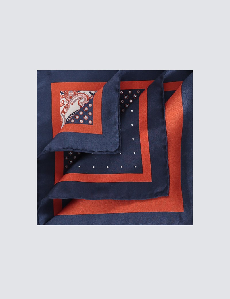 Men's Navy & Orange 4 Way Geometric Print Pocket Square - 100% Silk