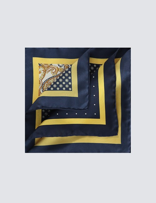 Men's Navy & Yellow 4 Way Geometric Print Pocket Square - 100% Silk