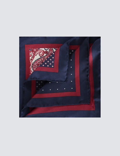 Men's Navy & Burgundy 4 Way Geometric Print Pocket Square - 100% Silk