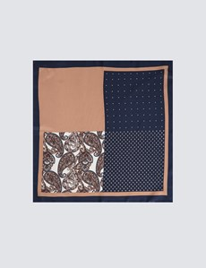 Men's Navy & Camel 4 Way Geometric Print Pocket Square - 100% Silk