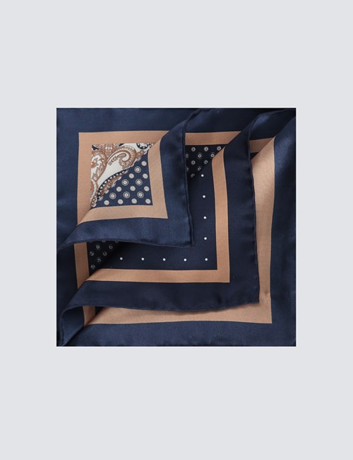 Men's Navy & Camel 4 Way Geometric Print Pocket Square - 100% Silk