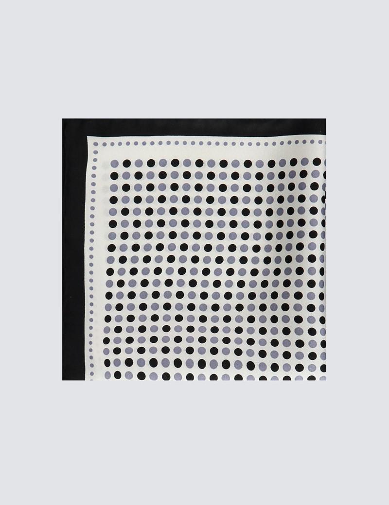 Einstecktuch aus reiner Seide – Weiß mit schwarzen & grauen Punkten