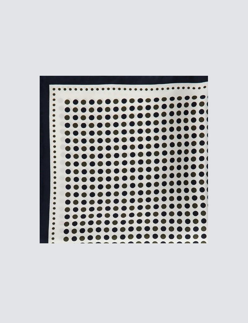 Men's Navy & Green Spotted Pocket Square - 100% Silk