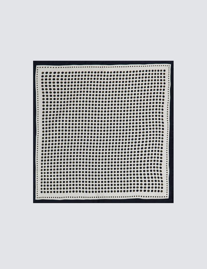 Einstecktuch aus reiner Seide – Weiß mit dunkelblauen & grünen Punkten