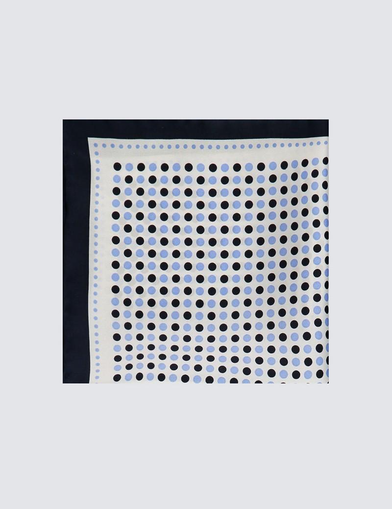 Men's Navy & Light Blue Spotted Pocket Square - 100% Silk