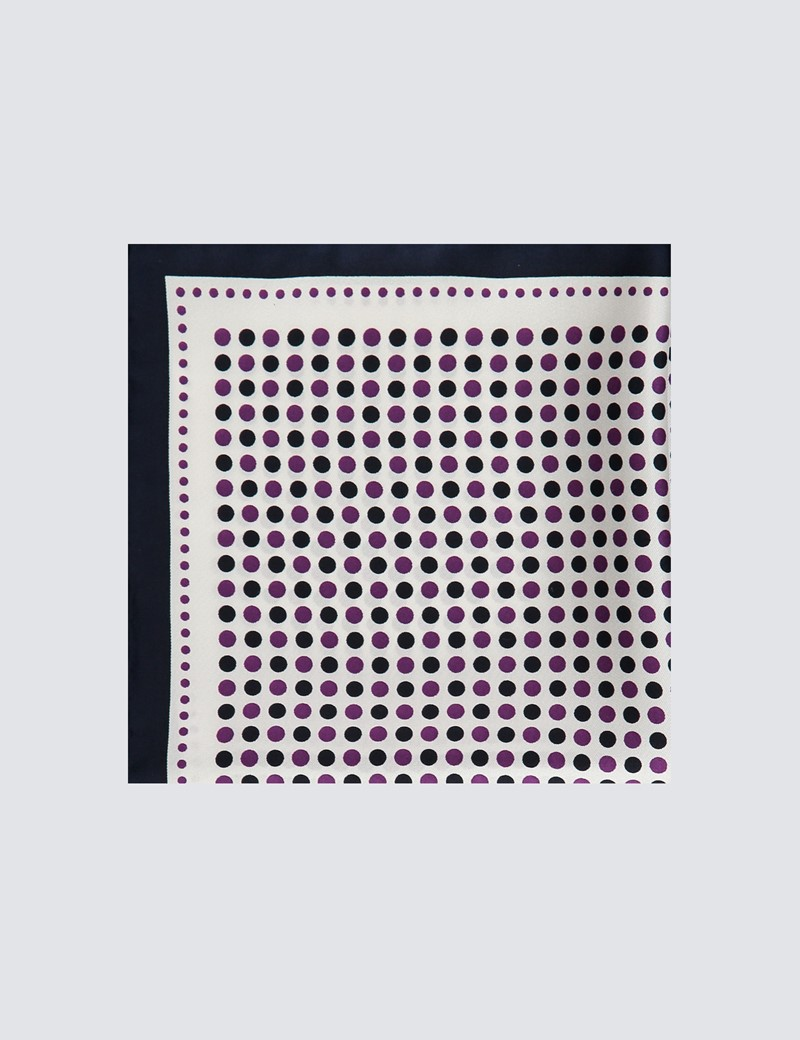 Men's Navy & Purple Spotted Pocket Square - 100% Silk