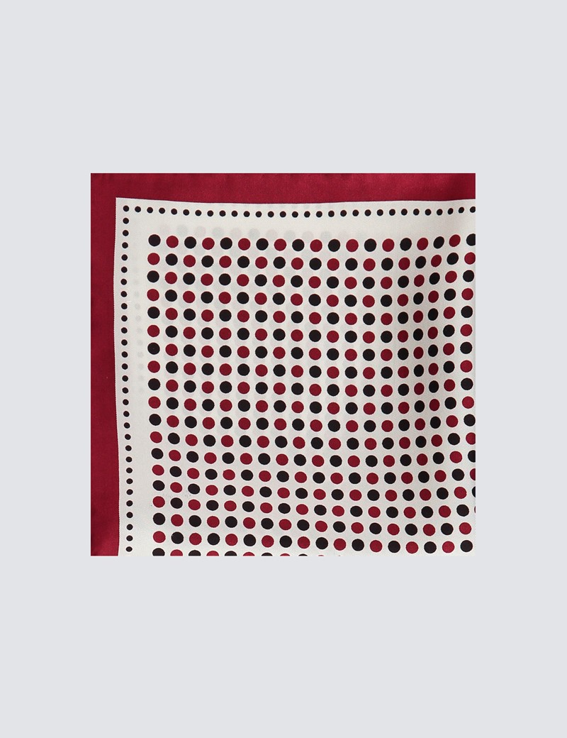 Men's Wine & Red Spotted Pocket Square - 100% Silk