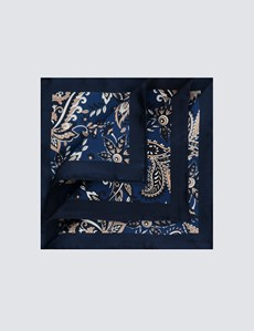 Men's Navy & Blue Geometric Paisley Overlay Print Pocket Square - 100% Silk
