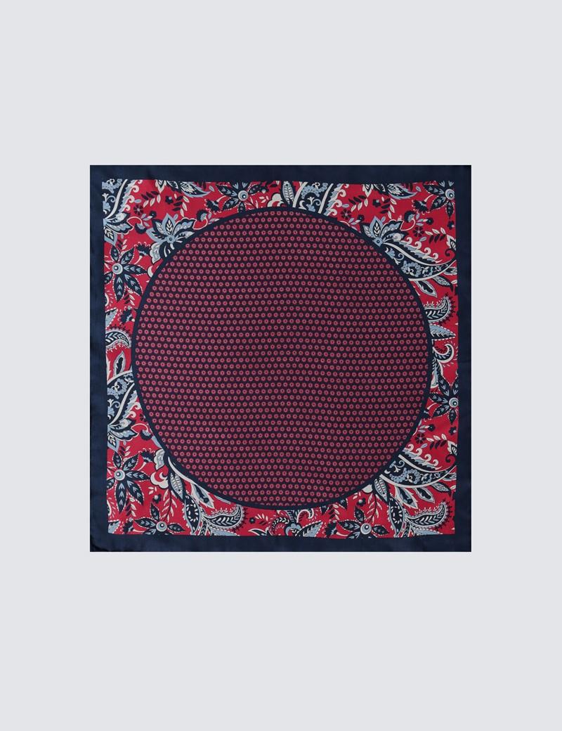 Men's Red & Navy Geometric Paisley Overlay Print Pocket Square - 100% Silk