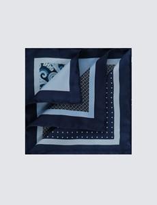 Men's Navy & Light Blue Paisley Plain 4 Way Pocket Square - 100% Silk