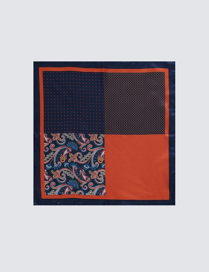 Einstecktuch aus reiner Seide – 4 Motive – Muster marine & orange
