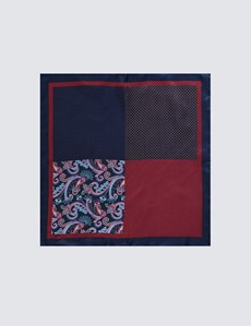 Men's Navy & Burgundy Paisley Plain 4 Way Pocket Square - 100% Silk