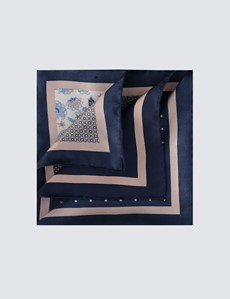 Men's Navy & Cream Plain Paisley 4 Way Pocket Square - 100% Silk