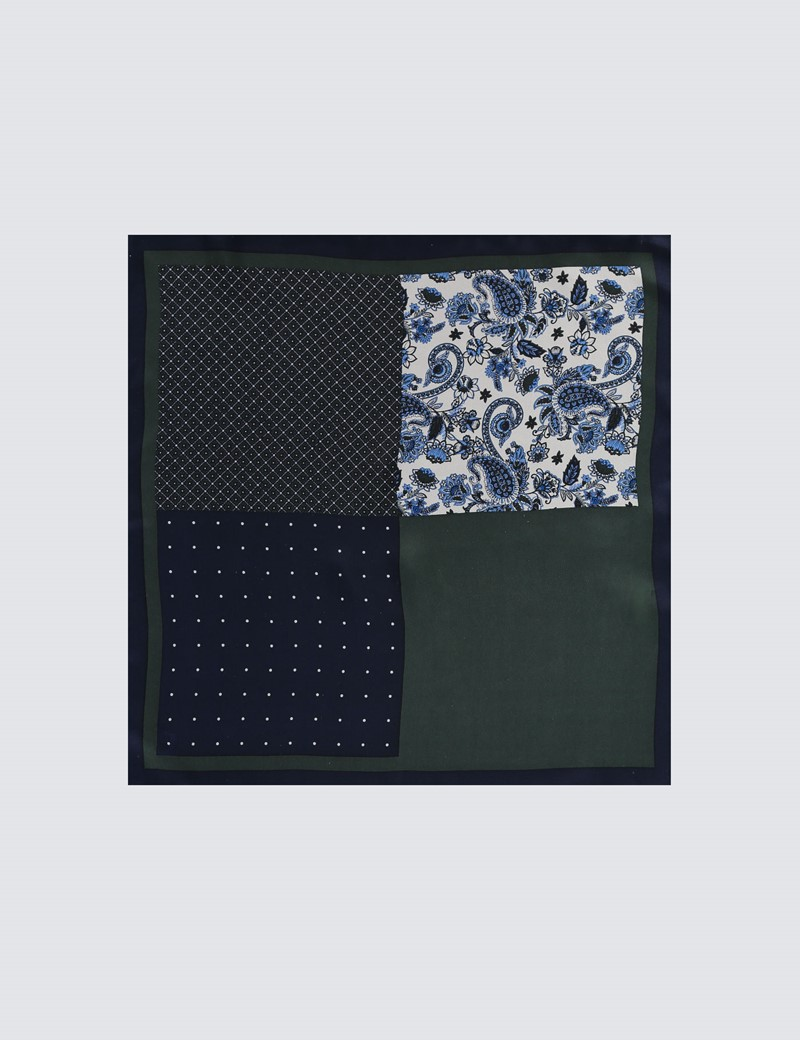 Men's Navy & Green Plain Paisley 4 Way Pocket Square - 100% Silk