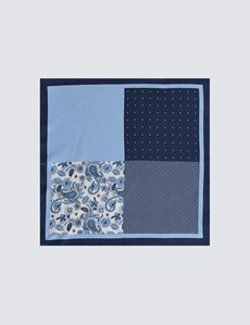 Men's Navy & Light Blue Plain Paisley 4 Way Pocket Square - 100% Silk