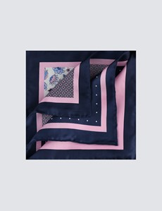 Men's Navy & Light Pink Plain Paisley 4 Way Pocket Square - 100% Silk