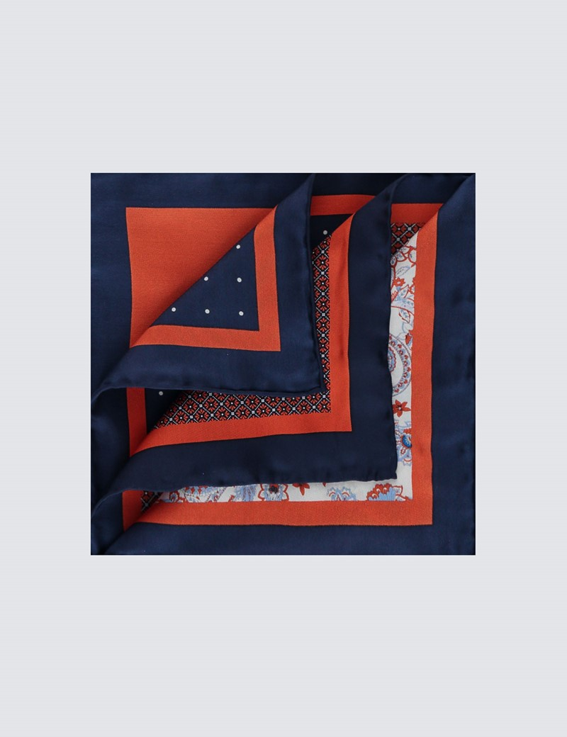 Men's Navy & Orange Plain Paisley 4 Way Pocket Square - 100% Silk