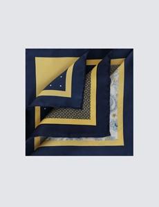 Men's Navy & Yellow Plain Paisley 4 Way Pocket Square - 100% Silk