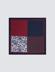 Men's Navy & Burgundy Plain Paisley 4 Way Pocket Square - 100% Silk