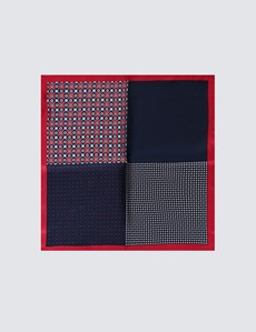 Men's Red & Navy Geometric Spot 4 Way Pocket Square - 100% Silk
