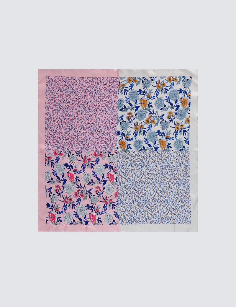 Men's Pink & White Floral 4 Way Pocket Square  - 100% Silk