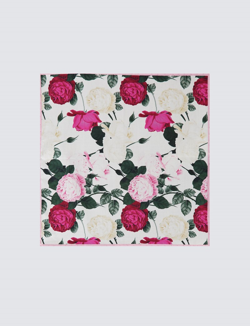 Men's Pink & White Floral Handkerchief  - 100% Cotton