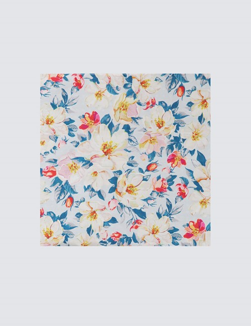 Men's Blue and Yellow Handkerchief  - 100% Cotton
