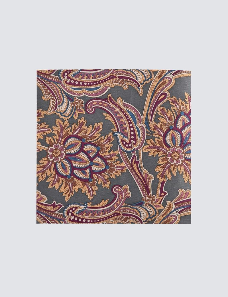Men's Green & Purple Paisley Print Handkerchief  - 100% Silk