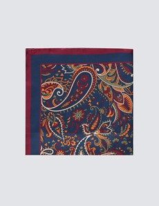 Men's Navy & Orange Floral Print Handkerchief  - 100% Silk