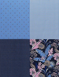 Men's Luxury Blue Floral Geometric 4 Way Pocket Square - 100% Silk
