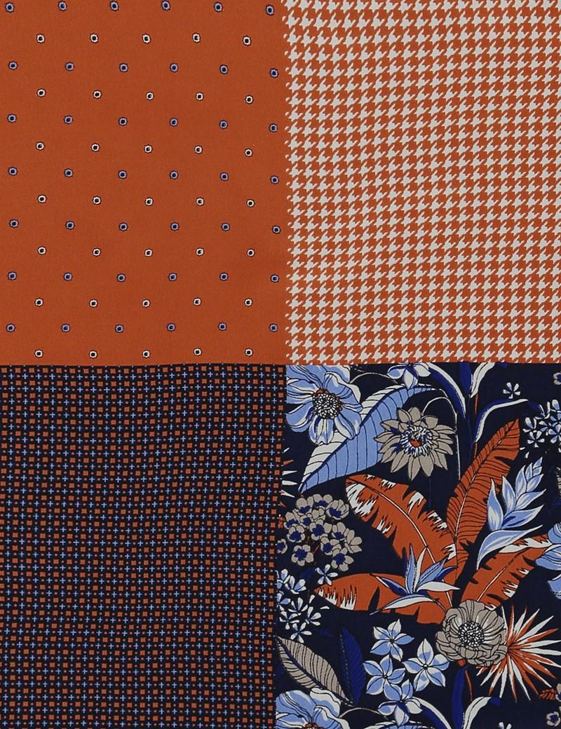 Einstecktuch aus Seide – 4 Motive – orange & navy