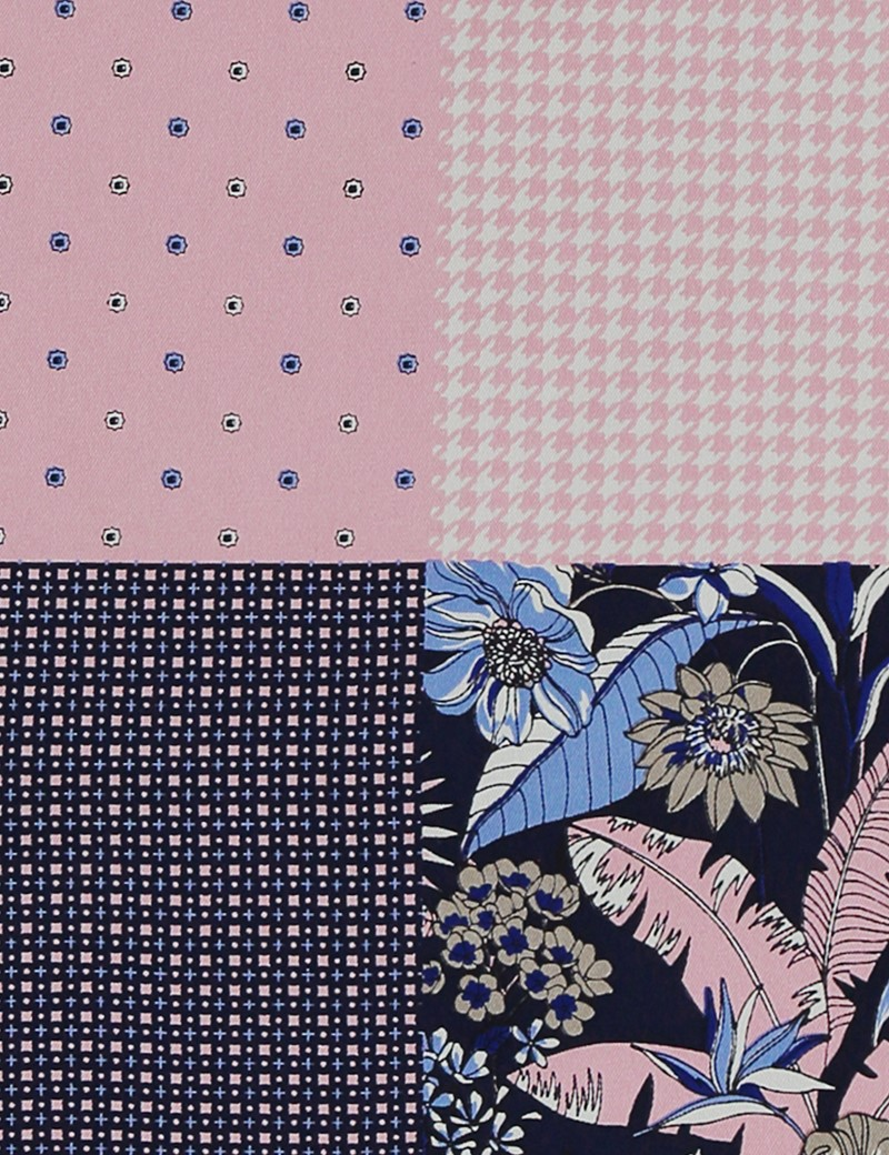 Men's Luxury Light Pink Floral Geometric 4 Way Pocket Square - 100% Silk