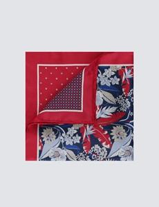 Men's Luxury Red Floral Geometric 4 Way Pocket Square - 100% Silk