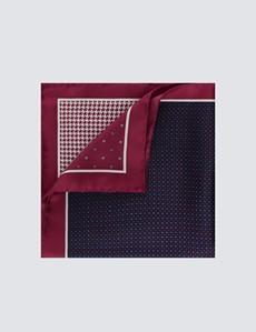 Men's Luxury Burgundy Floral Geometric 4 Way Pocket Square - 100% Silk