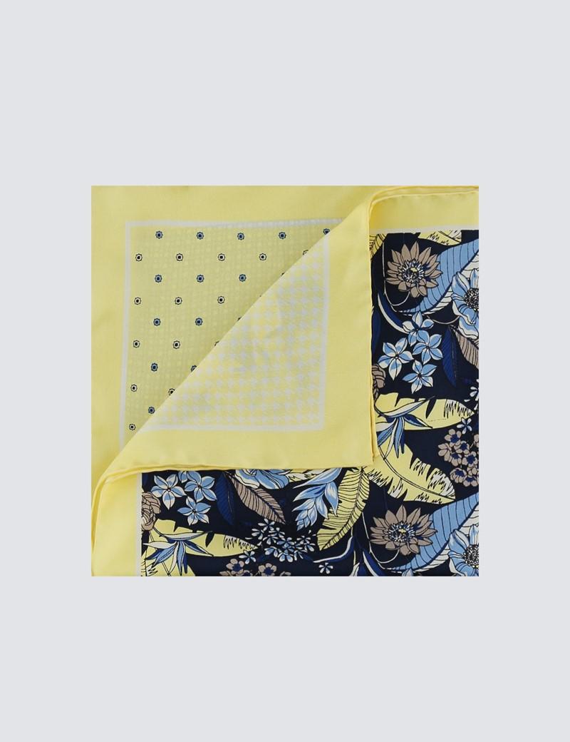 Men's Luxury Yellow Floral Geometric 4 Way Pocket Square - 100% Silk