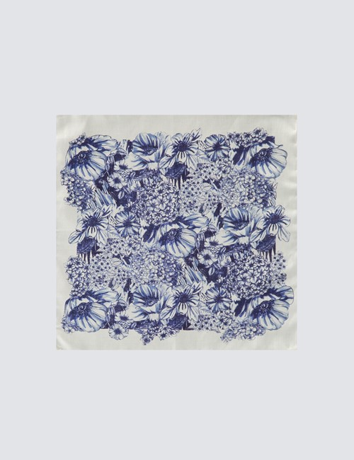 Men's Luxury White & Blue Floral Handkerchief - 100% Silk